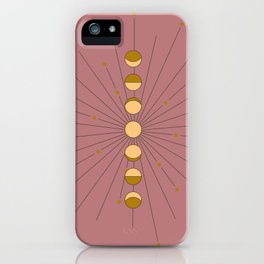 Moon Phases in gold with a starburst and dusty rose background iPhone Case