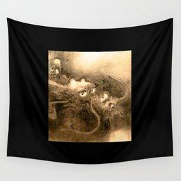 Dragon and wave,Tiger among bamboo by Kano Tannyu (1602-1674) Wall Tapestry