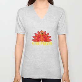 """""""Eat Pizza Funny Thanksgiving Day Gift"""" tee design for both turkey and pizza lover!Makes a cute gift Unisex V-Neck"""