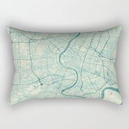 Bankok Map Blue Vintage Rectangular Pillow