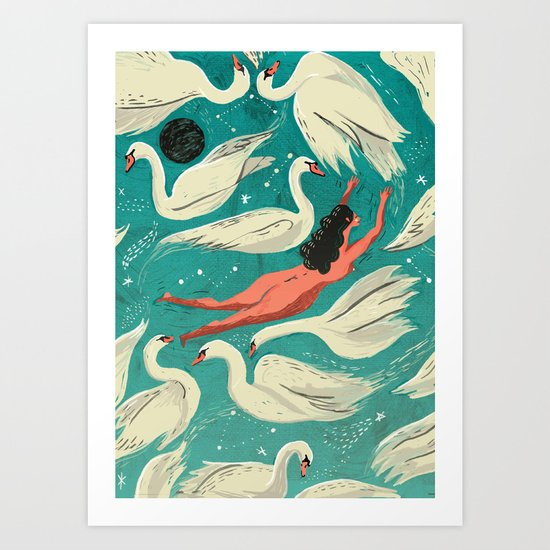 Flying or Drowning Art Print