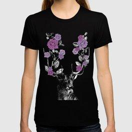 The Stag and Roses | Deer and Flowers | Purple | Vintage Stag | Vintage Deer | Antlers | Woodland | T-shirt