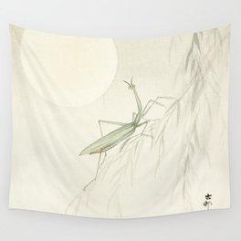 Praying mantis by Ohara Koson Wall Tapestry