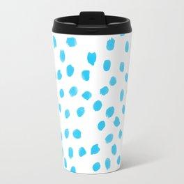 Aqua Teal Dots Polkadots on White Background - Mix & Match Travel Mug
