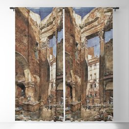 The Fish Market In Rome 1865 by Rudolf von Alt   Reproduction Blackout Curtain