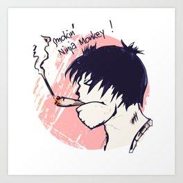 Smokin' Ninja Monkey Art Print