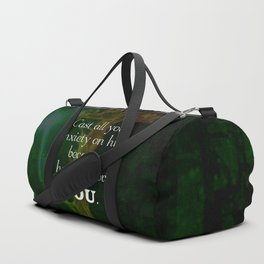 1 Peter 5:7 Uplifting Bible Verses Quote Duffle Bag