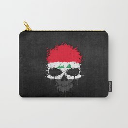 Flag of Iraq on a Chaotic Splatter Skull Carry-All Pouch