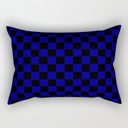 Black and Navy Blue Checkerboard Rectangular Pillow