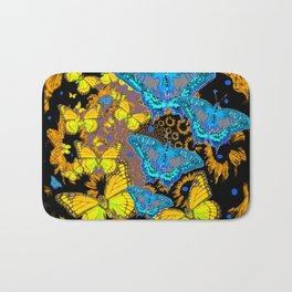 Oriental Style Blue & Gold Butterflies Nature Art Bath Mat
