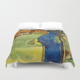 "Egon Schiele ""Stadt am blauen Fluss (Town on the blue river)"" Duvet Cover"