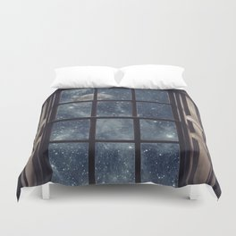 Space view Window-Moon shine Duvet Cover