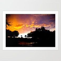 Sunset in Orlando, Florida with Colorful Clouds  Art Print