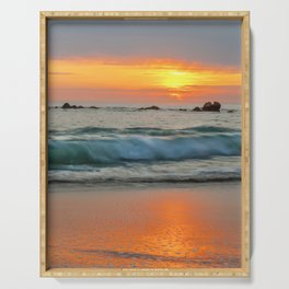 Golden sunset with turquoise waters Serving Tray