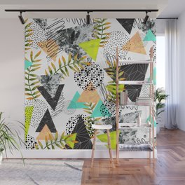 Triangles and plants Wall Mural
