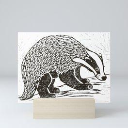 Climbing Badger Lino Print Mini Art Print