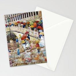 Maurice Brazil Prendergast - Umbrellas In The Rain - Digital Remastered Edition Stationery Cards