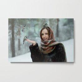 Small titmouse bird in women's hand Metal Print