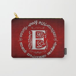 Joshua 24:15 - (Silver on Red) Monogram E Carry-All Pouch