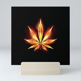 Cannabis Fire Leaf Mini Art Print