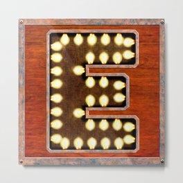 Monogram Letter E - Vintage Style Lighted Sign Metal Print