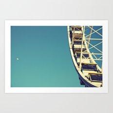 The sky, the moon and the Ferris Wheel Art Print