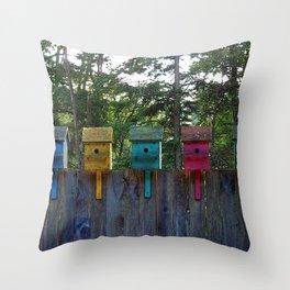 Birdhouse blues Throw Pillow