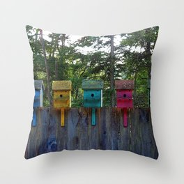 Birdhouse blues Throw Pillow