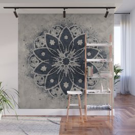 Mandala, Flower, Indigo Blue, Boho Art Wall Mural
