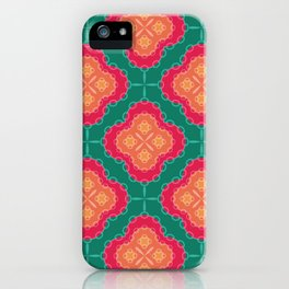 Pretty Chain Lozenge Pattern in Pinks on Teal iPhone Case