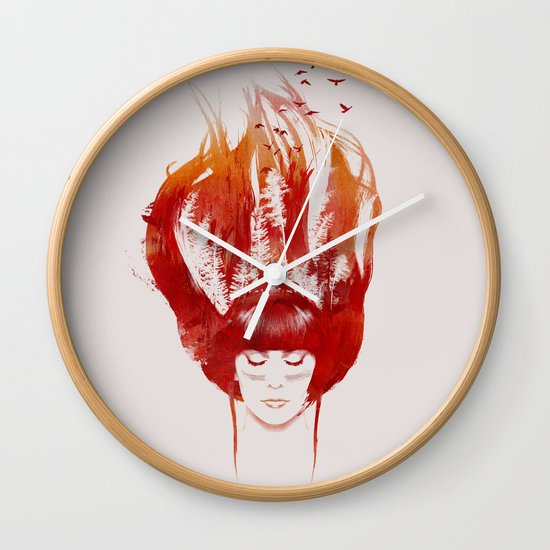 Burning Forest Wall Clock