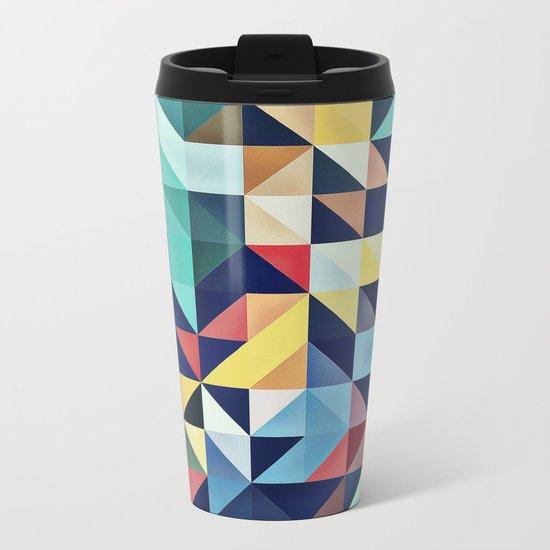 Modern Colorful Retro Geometric Triangle Pattern Metal Travel Mug