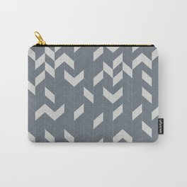 Grey and Grey Herringbone Carry-All Pouch