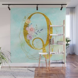 Gold Foil Alphabet Letter Q Initials Monogram Frame with a Gold Geometric Wreath Wall Mural