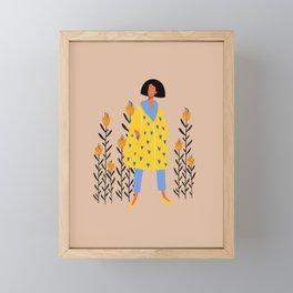 Single fashinable girl in coat character Framed Mini Art Print