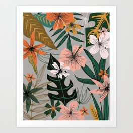 tropical floral on gray Art Print
