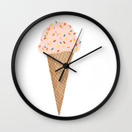 Pink Ice Cream with Rainbow Sprinkles Wall Clock