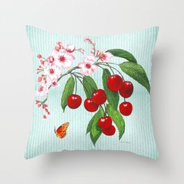 Cherries on Vintage  Throw Pillow