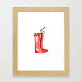 Red Christmas Boot Framed Art Print