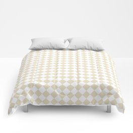 Small Diamonds - White and Pearl Brown Comforters