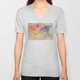 World Map Maps #map #maps #world Unisex V-Neck