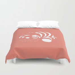 Coral Pantone 2019 and minimal drawing of the cheshire cat - Alice in wonderland quote Duvet Cover