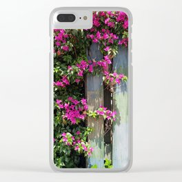 Tropical Fence Flowers Clear iPhone Case