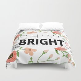 Shine bright quite with girly flower pattern Duvet Cover