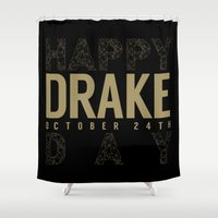 birthday Shower Curtains featuring Birthday by October's Very Own