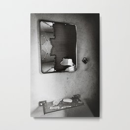 Shattered Bathroom Mirror - Black & White Metal Print