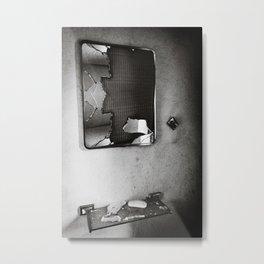 Shattered Bathroom Mirror - Black & White Metal Print