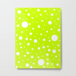 Mixed Polka Dots - White on Fluorescent Yellow Metal Print