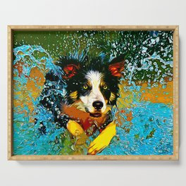 border collie jumping in water vector art Serving Tray