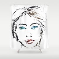 no face Shower Curtains featuring face by Artemio Studio